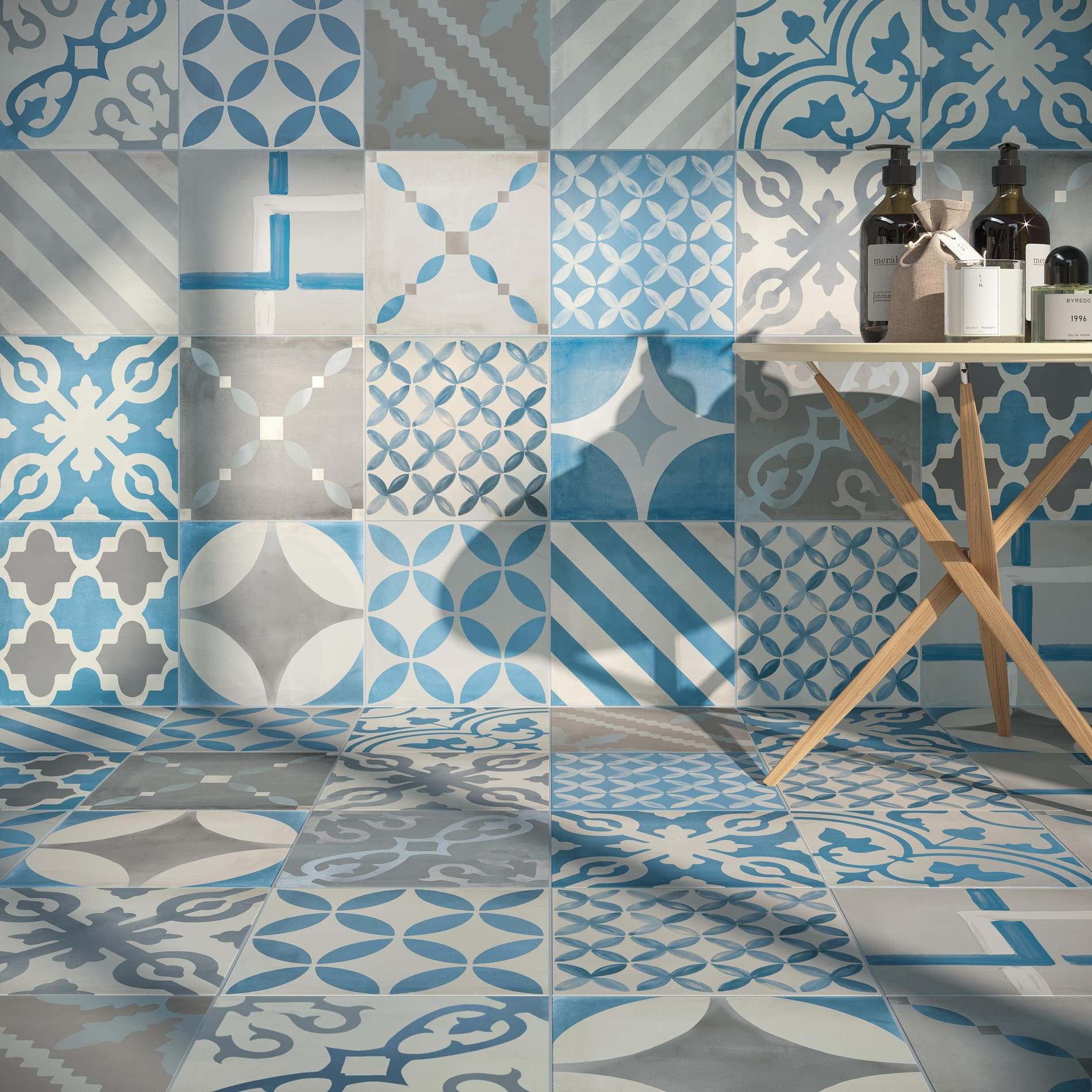 Concrete look porcelain tiles