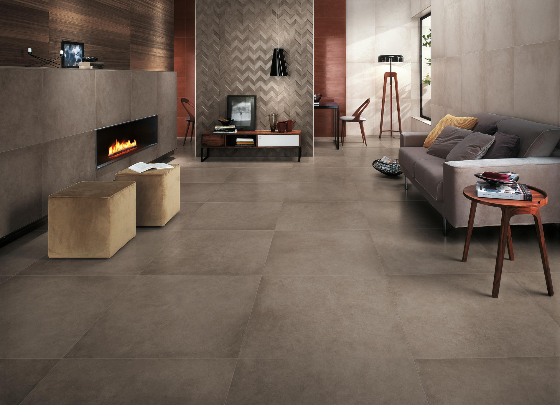 Resin- and concrete-look floor and wall tiles