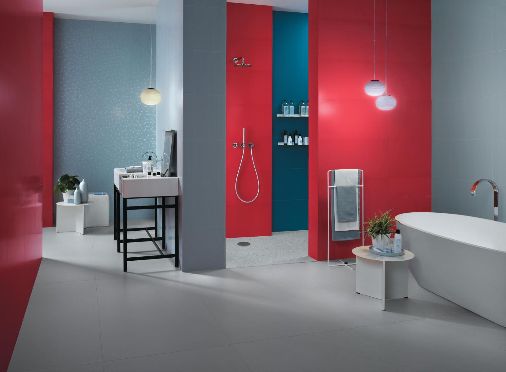 Sky 40x80, Red 40x80, Blue 40x80, Sky Mosaico Q 30,5x30,5, White Matte 75x150, Marvel Gems Terrazzo White Matte 60x60