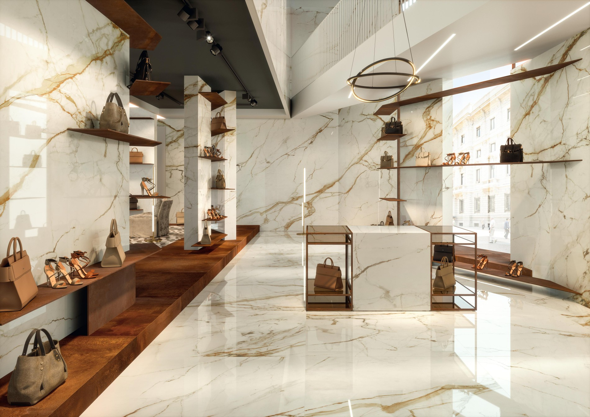 Marble-look porcelain floor and wall tiles