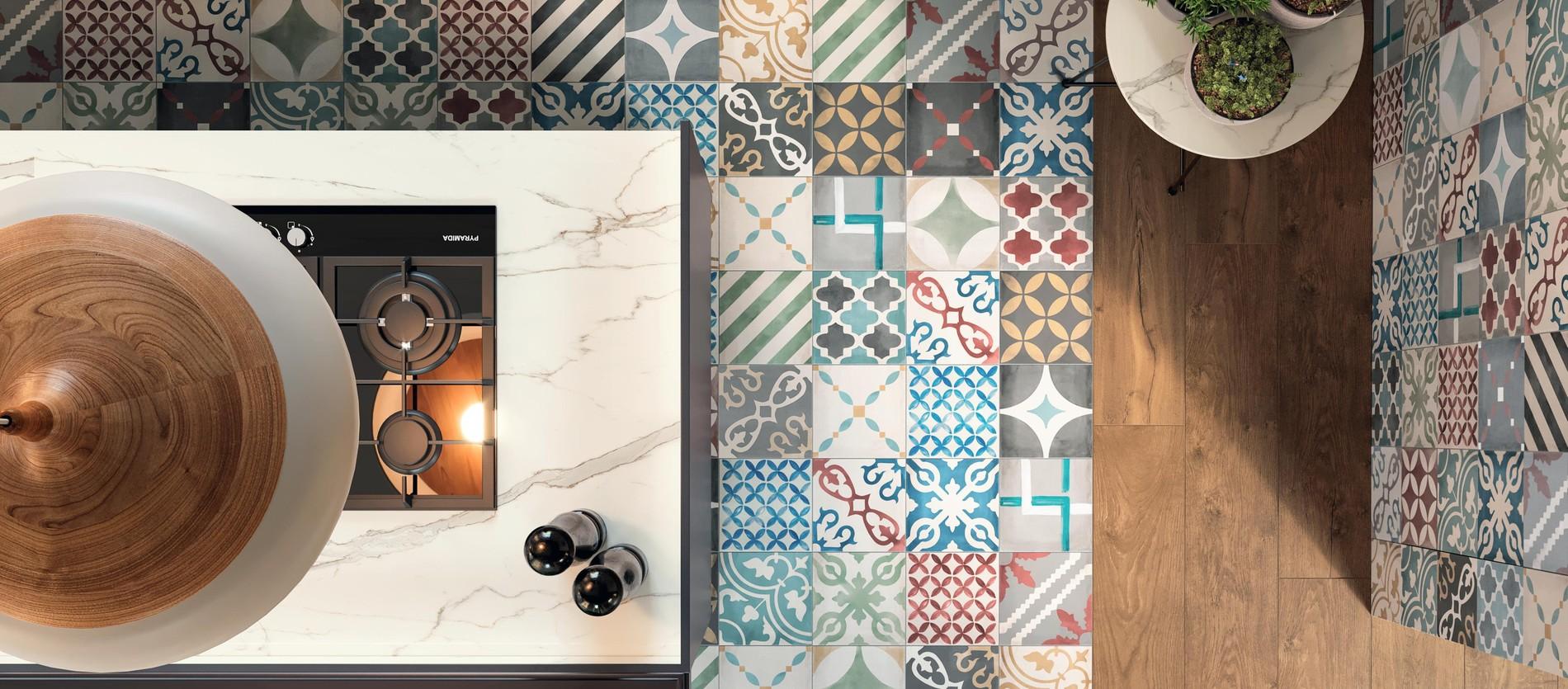 Encaustic tiles: nouveau and deco light and color.