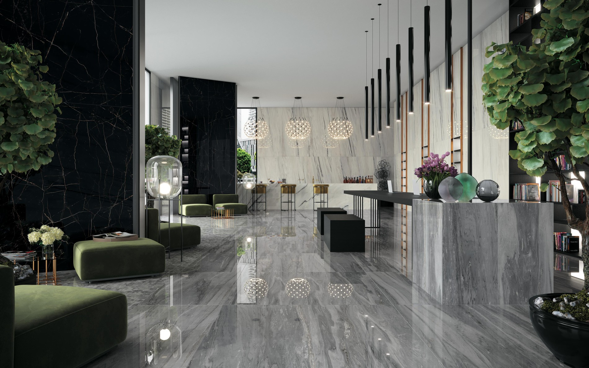 The wonder of the marble effect. From architecture to interior design.